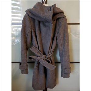Grey Zara Cowl Neck Pea Coat